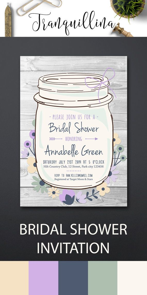 Rustic Bridal Shower Invitation Printable, Mason Jar Bridal Shower Invitation, Mason Jar Birthday Invitation, Country Bridal Shower Invite, DIY bridal Shower Party Ideas, Gray and Lilac Wedding Ideas. More invitations available at: tranquillina.etsy.com
