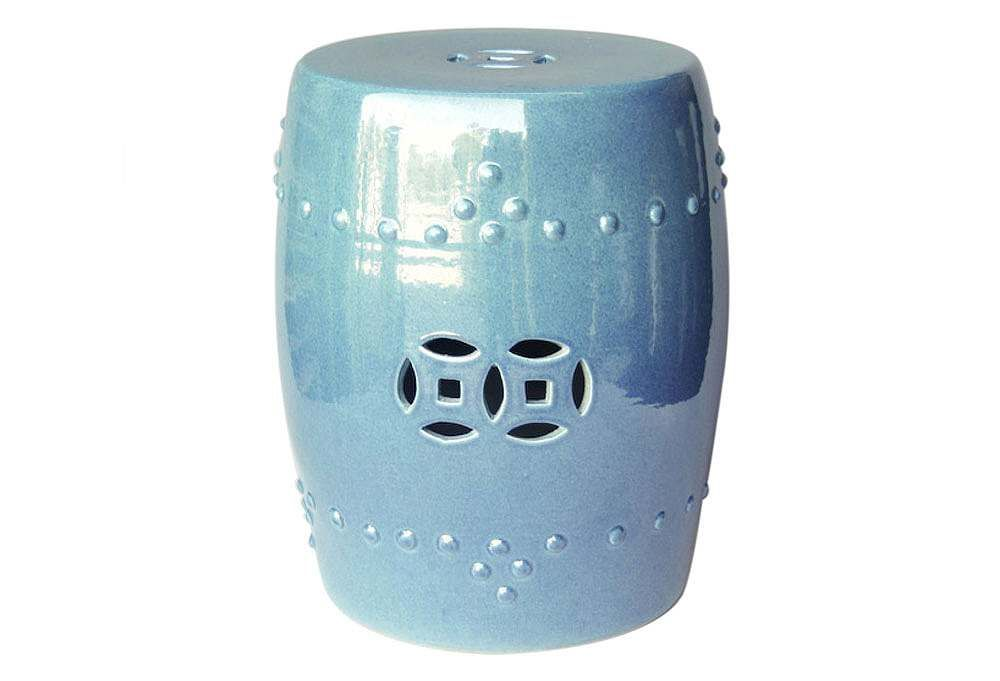 Legend Of Asia Garden Stool Crystal Blue Chinese