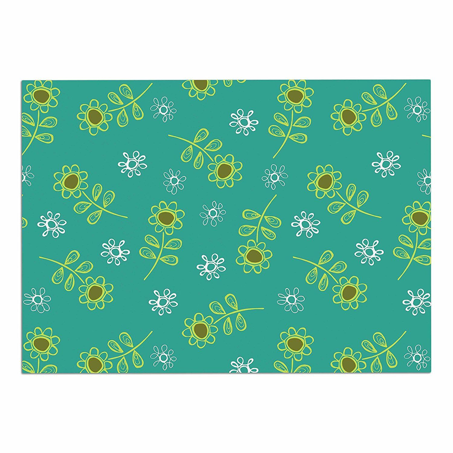 KESS InHouse Holly Helgeson 'Ditsy Daisy' Teal Dog Place Mat, 13' x 18' -- Review more details here : Dog food container