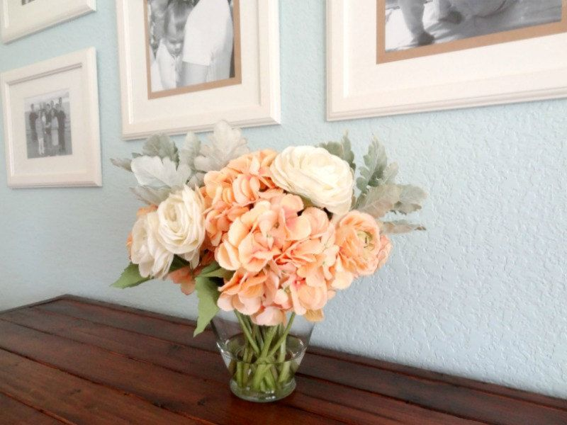 Peach and Cream Hydrangeas and Ranunculus Wooden