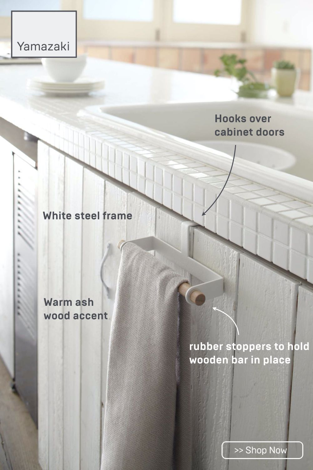 Love The Towel Bar On The Front Of The Fake Drawer Under The Sink Complete Kitchen Remodel Kitchen Remodel Farmhouse Kitchen Design