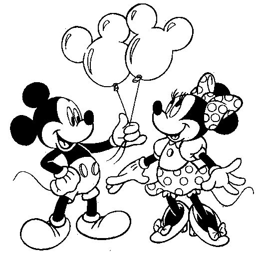 Mickey Mouse And Minnie Holding Balloons | Disegni | Pinterest ...