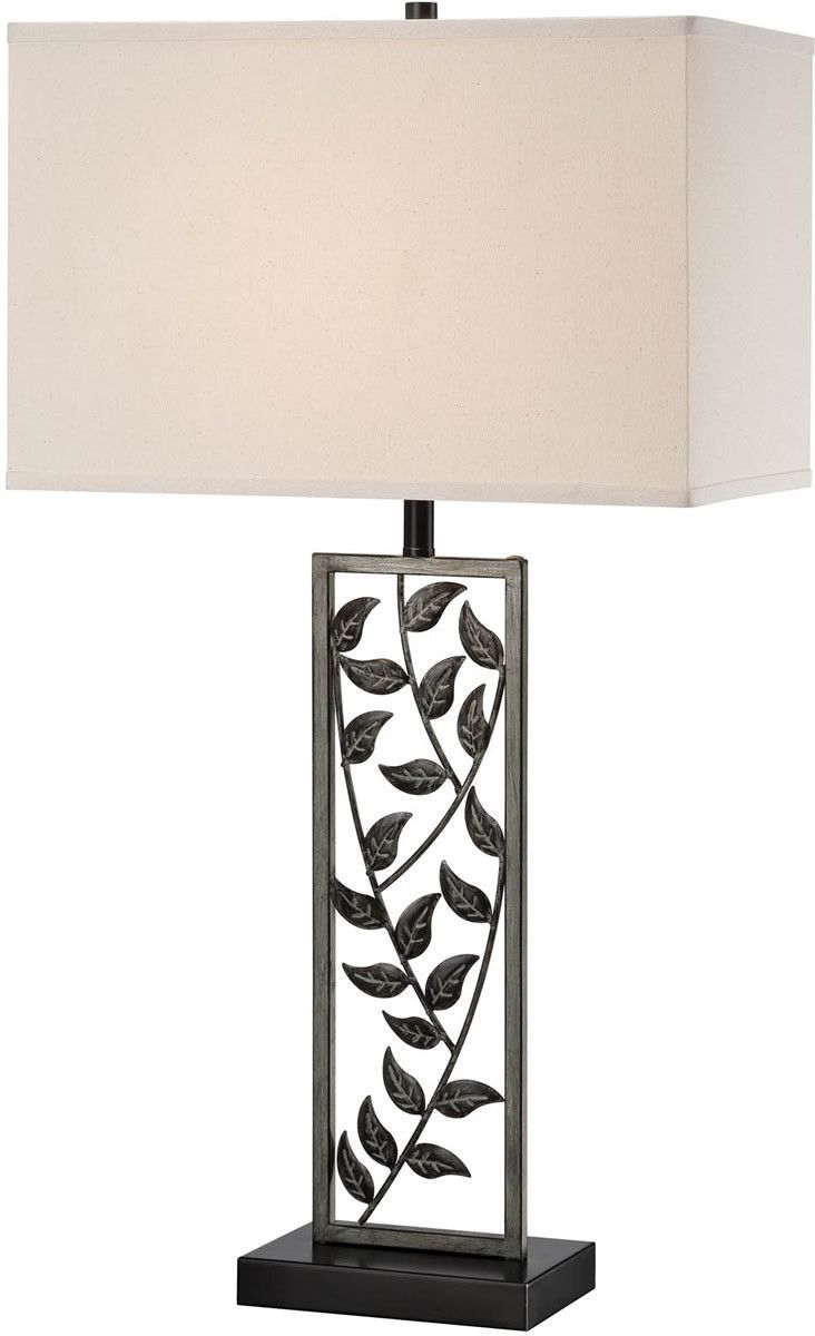 "0-034280>32""""h Folha 1-Light Table Lamp Antiqued Silver Bronze"