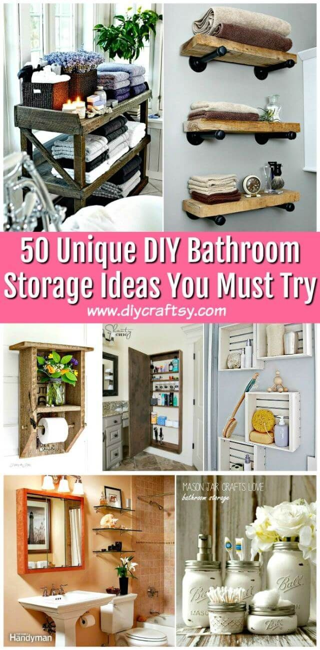 50 Unique DIY Bathroom Storage Ideas You