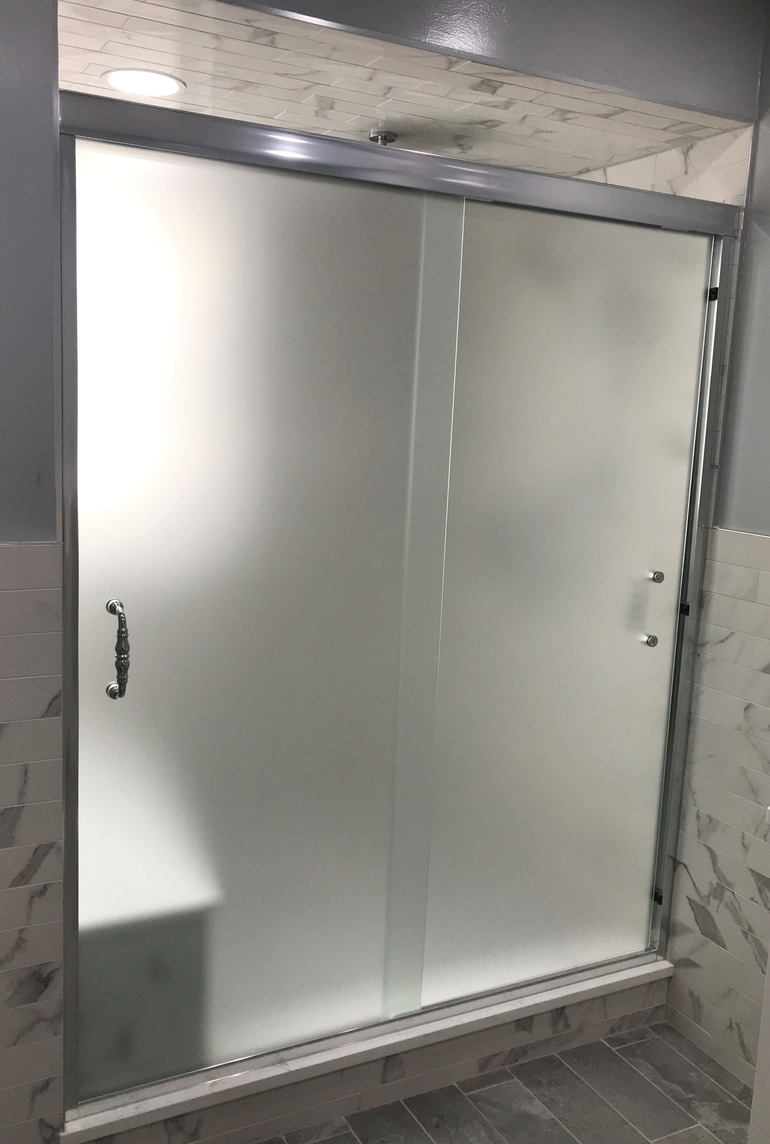Semi Frameless Sliders For Shower Stall With Satin Etch Glass And Spindle Hand Glass Shower Enclosures Etched Glass Shower Doors Frameless Bypass Shower Doors