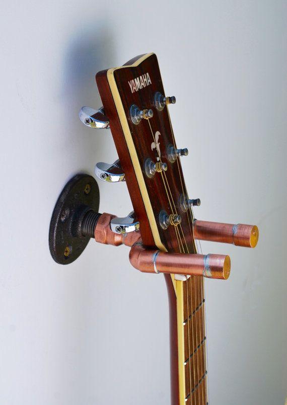 kupfer gitarre aufh nger wand aufh ngen gitarre wandaufh nger kupfer silber deko. Black Bedroom Furniture Sets. Home Design Ideas