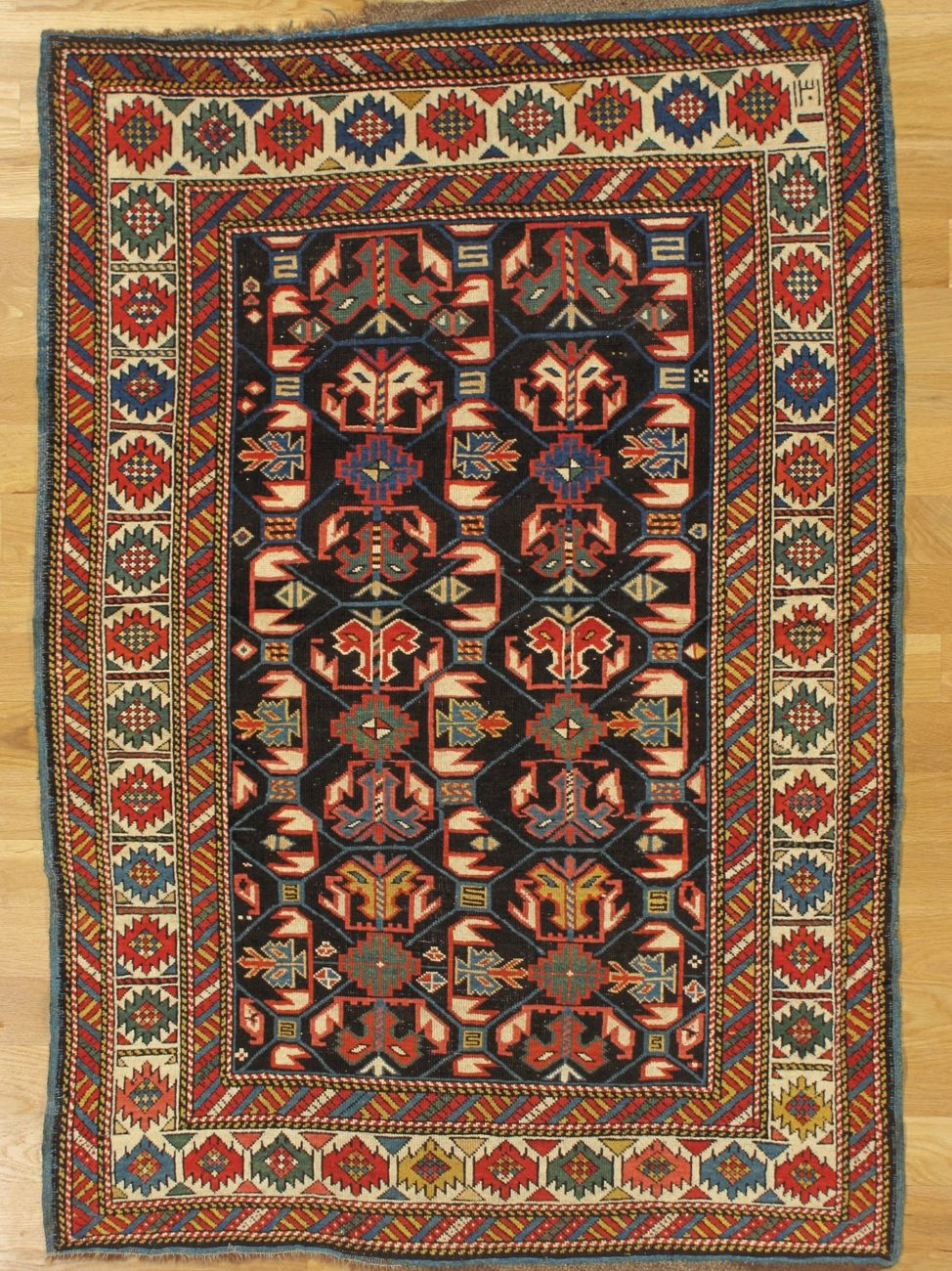 Kuba Rug From Eastern Caucasus West Coast Of The Caspian Sea Age Dated 1301 1883 Size 5 1 X3 5 155x104 Cm Antique Rugs Rugs Asian Rugs