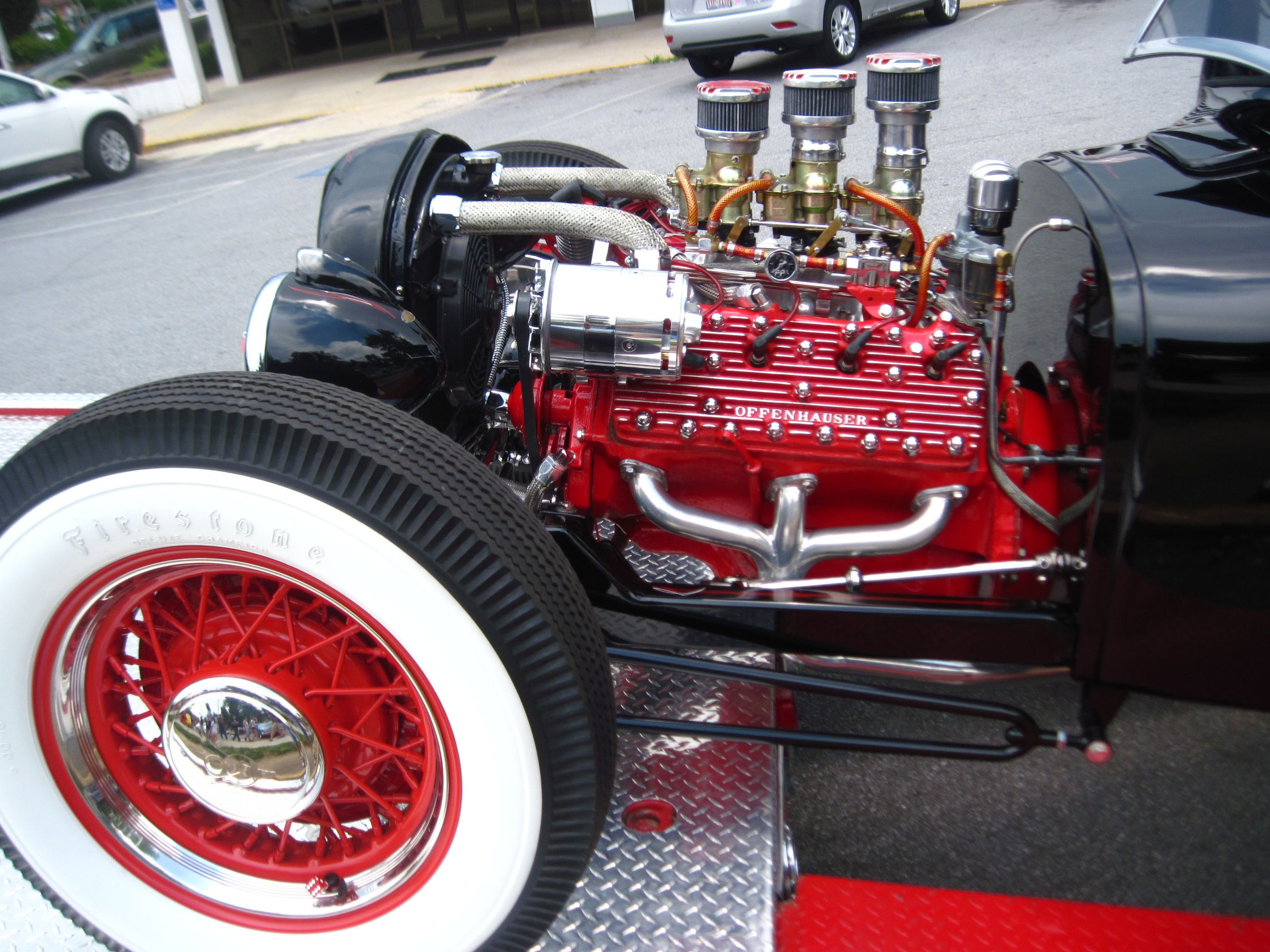 Offenhauser heads on a 34 ford with a flathead v8 in times of yore