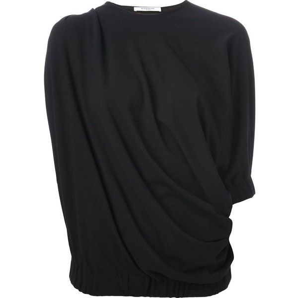Givenchy draped asymmetric top (4.555 HRK) ❤ liked on Polyvore featuring tops, black, givenchy, drape top, black drape top, black asymmetrical top and asymmetrical top