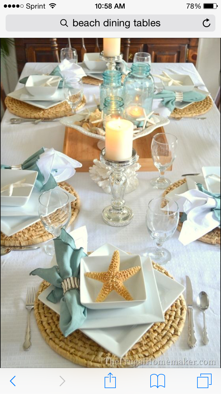 diy beach theme wedding centerpieces%0A Beachinspired tablescape with new Better Homes and Gardens porcelain  dishes I like the idea white tablecloth  maybe burlap runners with the  colored napkins