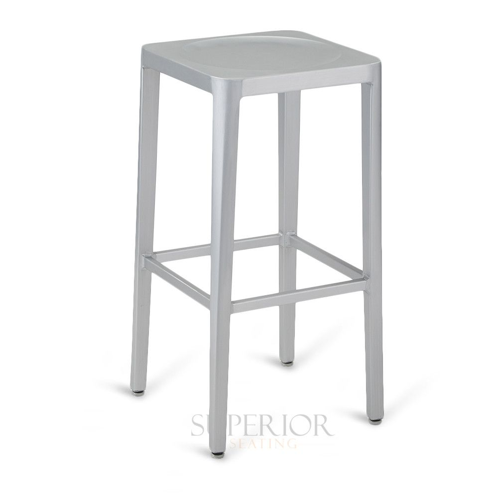 Contemporary Backless Aluminum Commercial Outdoor Bar Stool