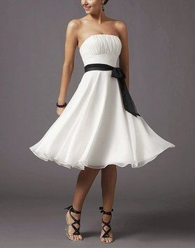 Photo of White Chiffon Strapless Pleated Bust Destination Wedding Dre…