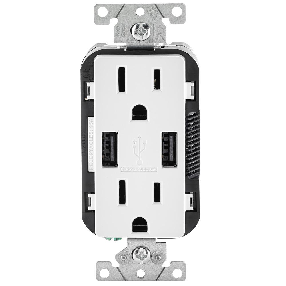 Leviton 3 6a Usb Dual Type A In Wall Charger With 15 Amp Tamper Resistant Outlets White R02 T5632 0bw The Home Depot In 2020 Leviton Usb Charger Outlet Usb Outlet