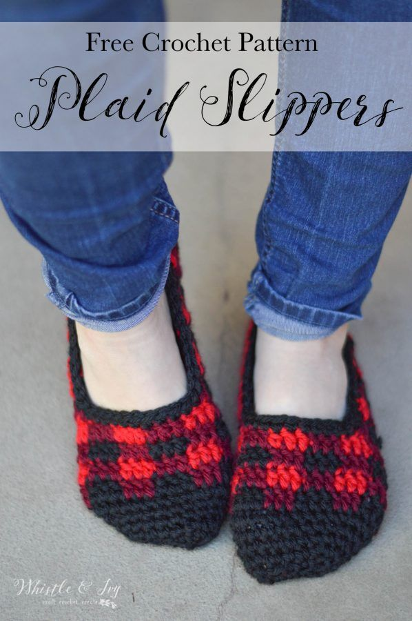 Crochet Plaid Slippers - For the Whole Family | Pantunflas, Tejido y ...