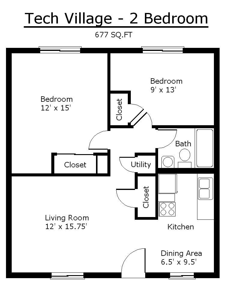 Tiny House Single Floor Plans 2 Bedrooms Apartment Floor