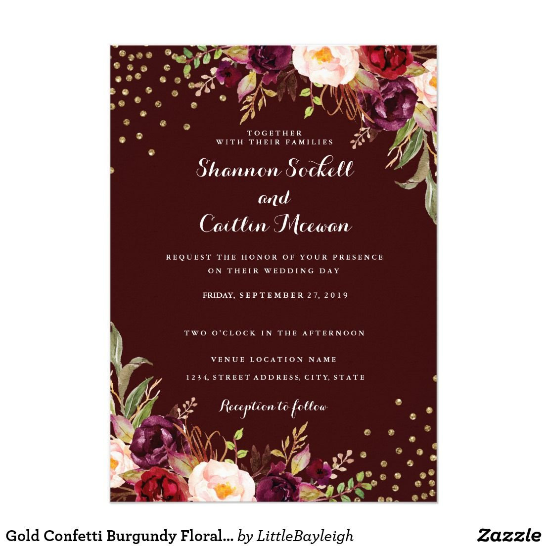 Gold Confetti Burgundy Floral Wedding Invitation Zazzle