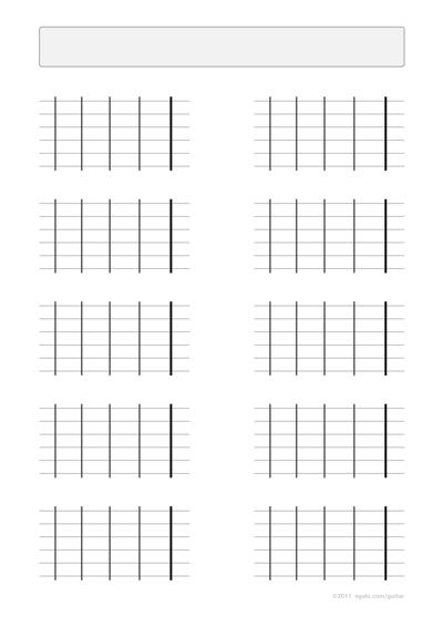Guitar blank fretboard charts 4 frets left-handed