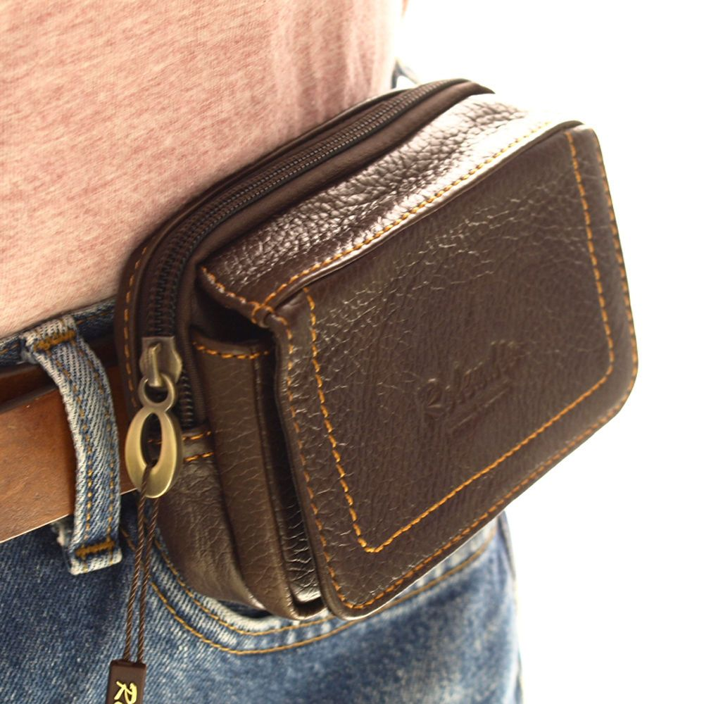 Hot Men/'s Leather Mobile Phone Case Belt Loops Waist Bag Fanny Pack Cards Purse