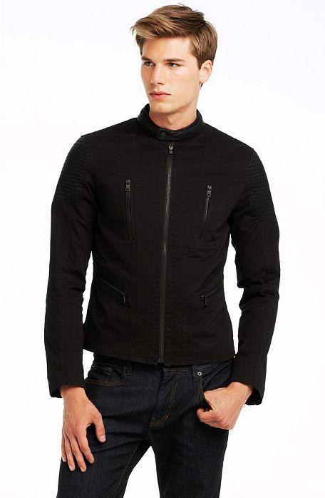 23f16c30064 Cotton   PU Moto Jacket - Outerwear   Jackets - Mens - Armani ...