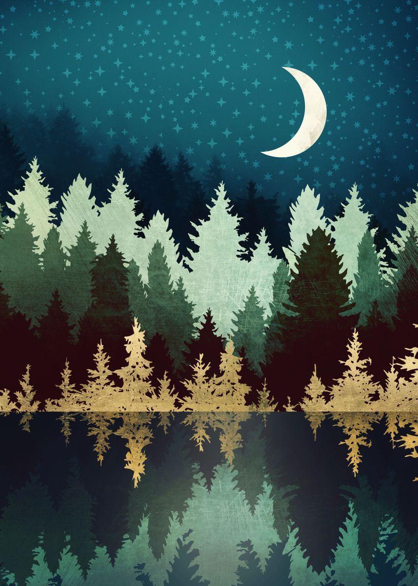 'Star Forest Reflection' Metal Poster - SpaceFrog Designs | Displate | Displate thumbnail