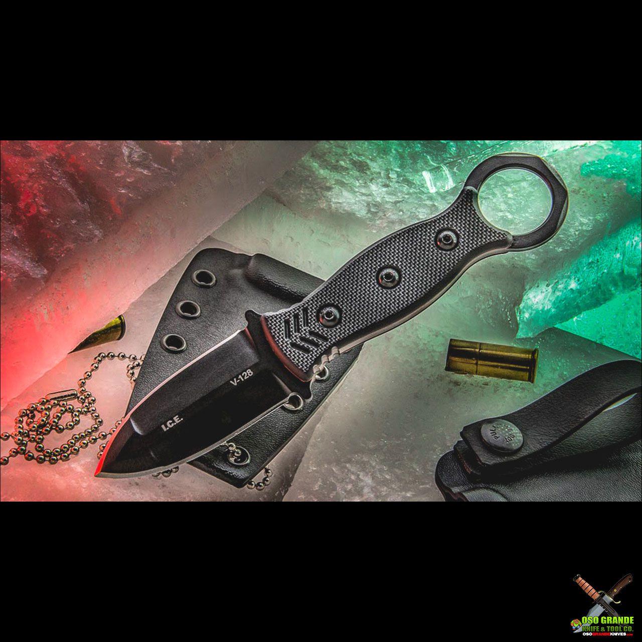 TOPS I.C.E. Dagger Fixed Blade Neck Knife w/ Beta Loops (3 in. Black) ICED-02 | OsoGrandeKnives