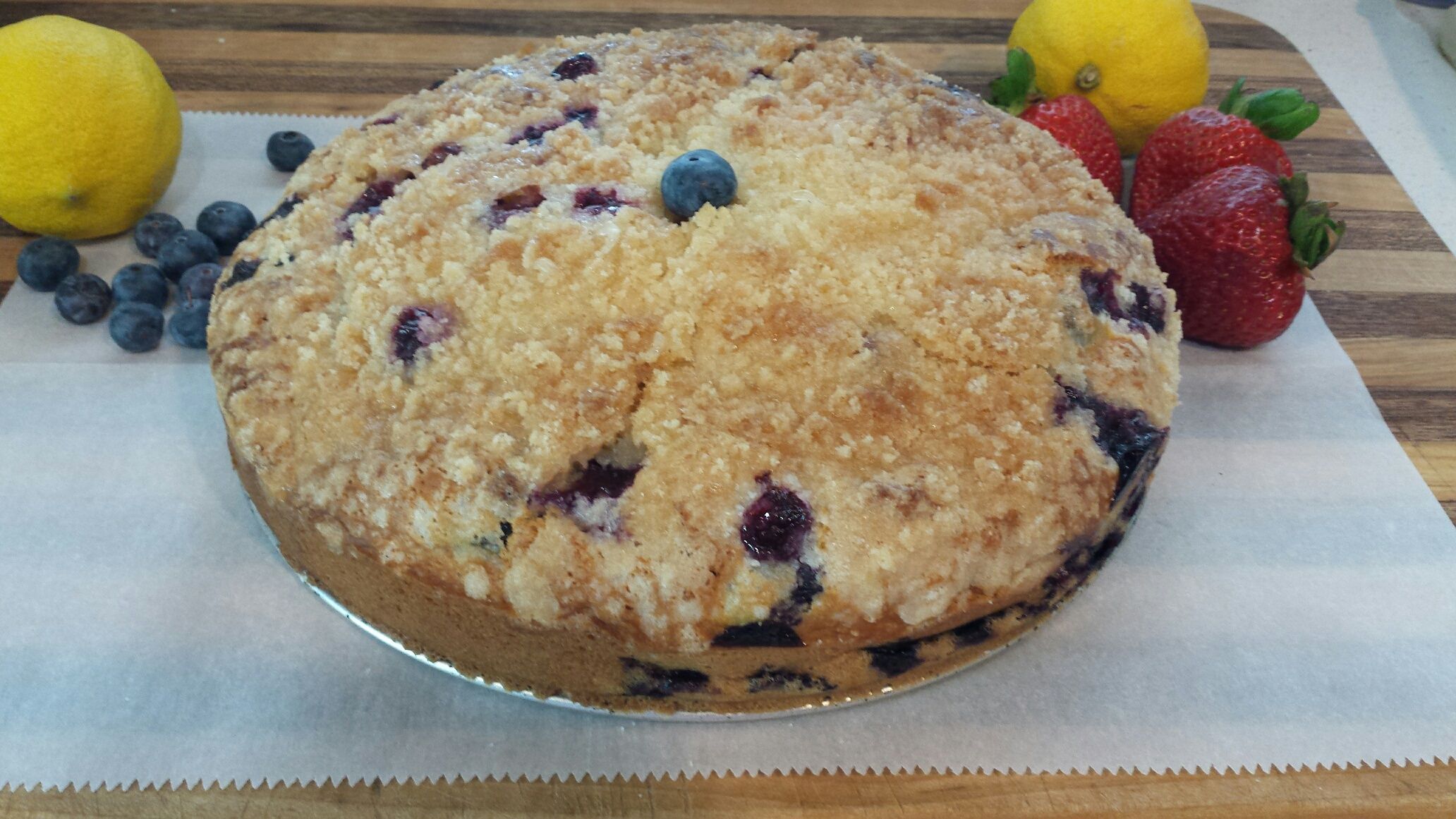 "Blueberry Lemon Coffee cake. We decided to try this recipe as a gift to a friend of ours. We were rewarded with a thank you call of extremely high praise. ""Even my parents that don't like sweets loved this coffee cake"". We take that as a success. :)"