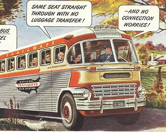 Trailways National Bus System Original 1951 Vintage Print Ad Color Illustration Of A Shiny Chrome And