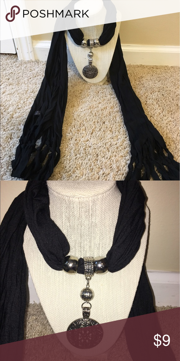 Beautiful black scarf Comes with charms. No flaws Accessories Scarves & Wraps