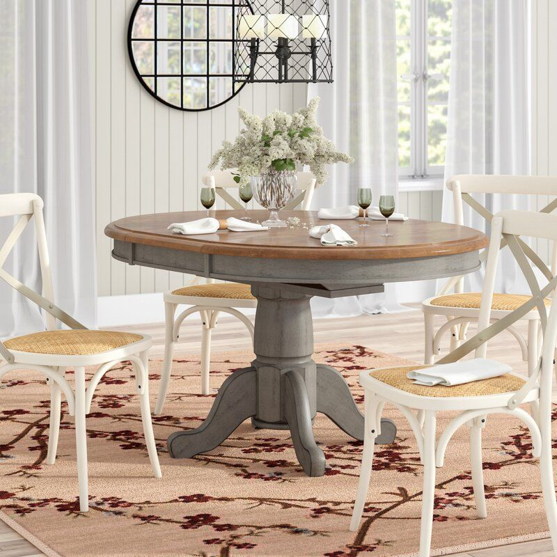Wonderly Pedestal Extendable Solid Wood Dining Table Pedestal Dining Table Wood Dining Table Dining Table In Kitchen