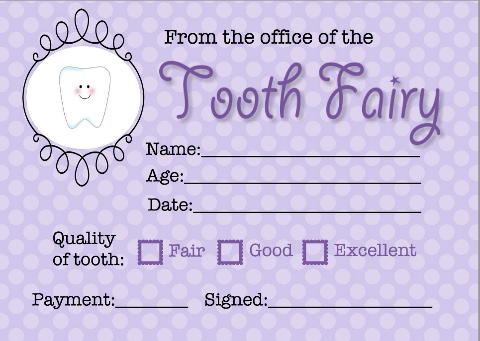 Fm Tooth Fairy Tooth Fairy Receipt Tooth Fairy Tooth Fairy Certificate