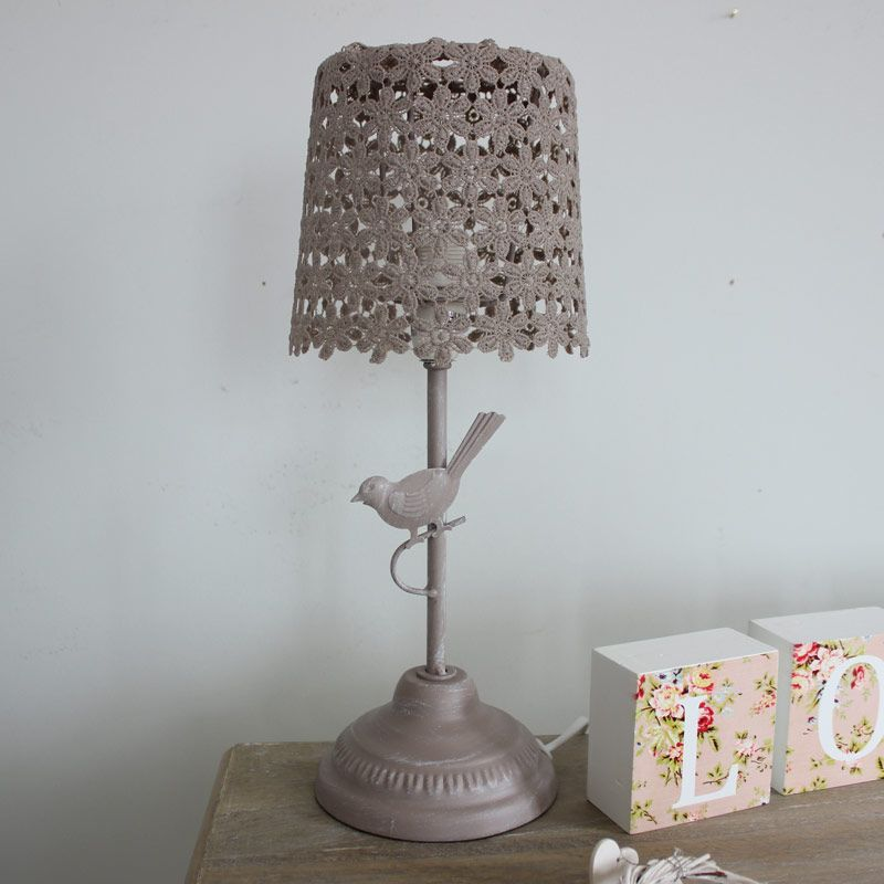 Mocha Bird Table Lamp A Beautiful Neautral Table Lamp Bedroom - Shabby chic table lamps for bedroom