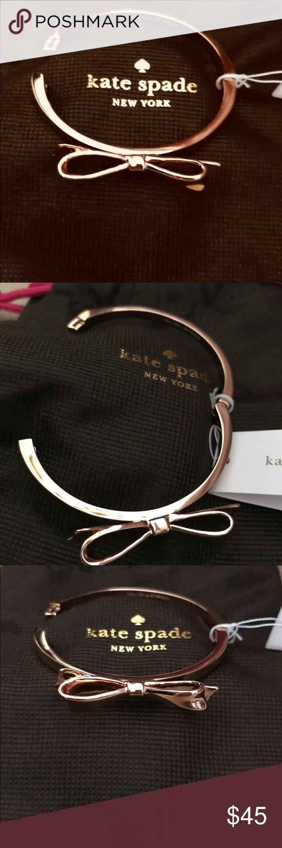 Nwot kate spade rose gold bow bracelet just in hinge opening rose