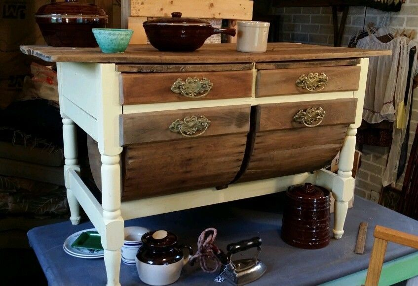 Charmant Antique Primitive Hoosier Table Cabinet Pot Belly Drawers
