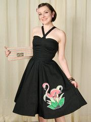1950s Dressed to Kill Flamingo Alyse Atomic Dress available in Med LG XL XXL