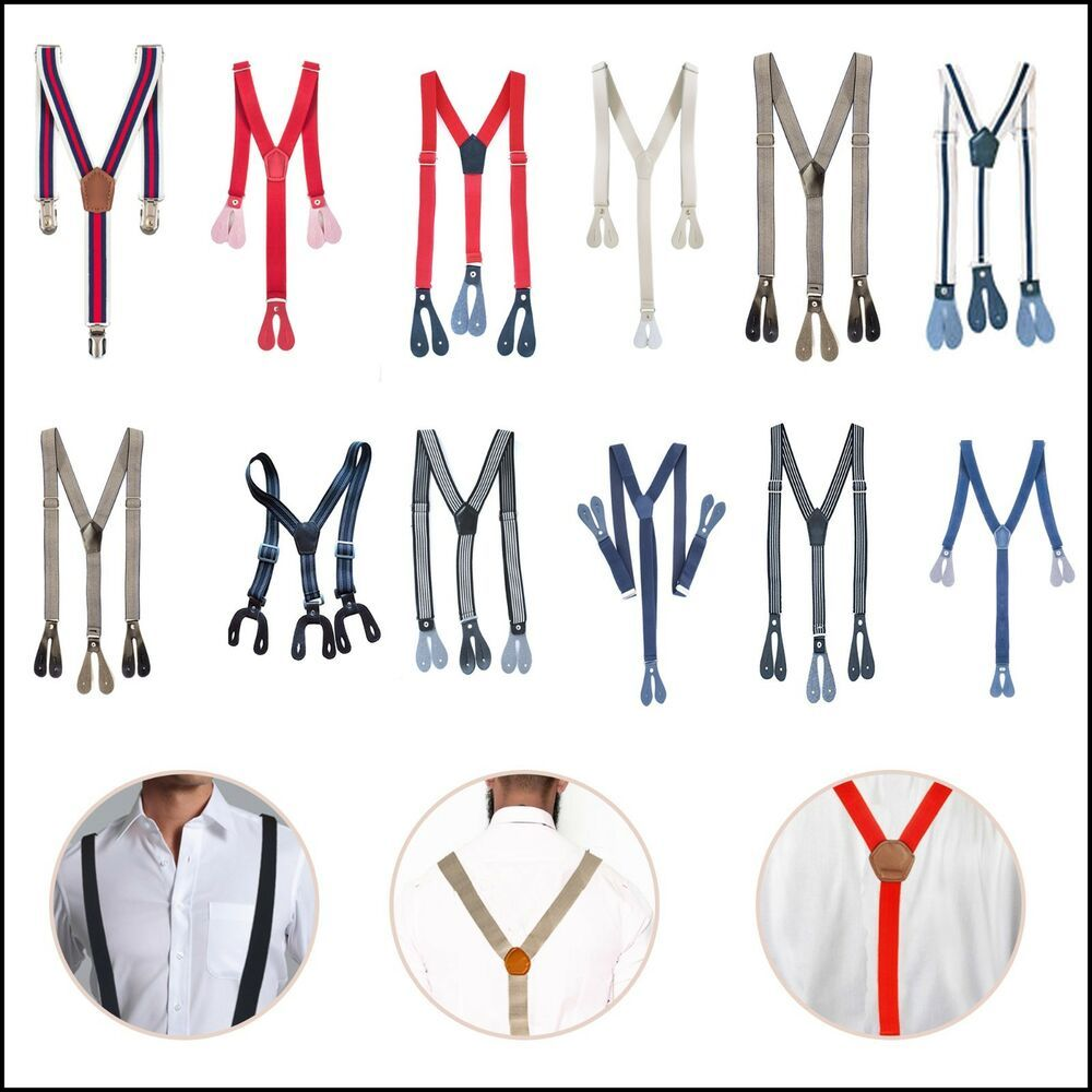 Braces Navy Button Hole Wide Suspenders Adjustable Elastic Trousers 20mm