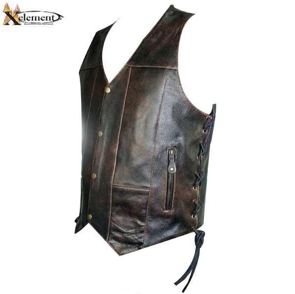 Xelement Men S Retro 10 Pocket Brown Buffalo Leather Vest