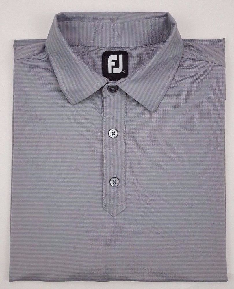 Footjoy Polo Shirt Large Gray Striped Mens Golf Size L Polyester
