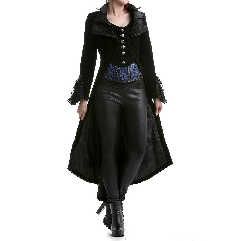 95cf02413c2cb4 Women Steampunk Jacket Frock Coat Black Velvet Gothic Vtg Victorian Regency