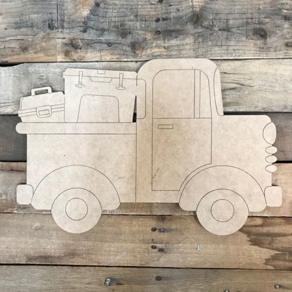 Old Style Truck With Tackle Boxes Unfinished Craft Paint By Line Crafts Wood Cutouts Wooden Cutouts