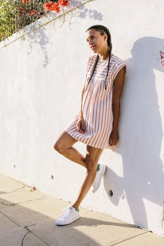 Casual, red and white striped dress perfect for summer paired with Adidas  Stan Smith sneakers