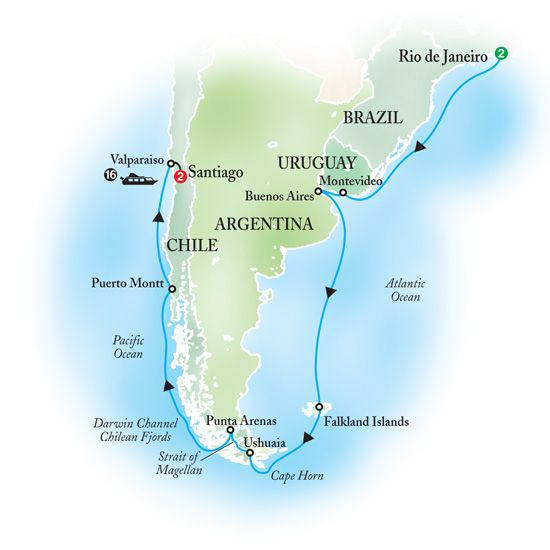 Cape Horn On South America Map.Cruise South America Around Cape Horn Through The Strait Of