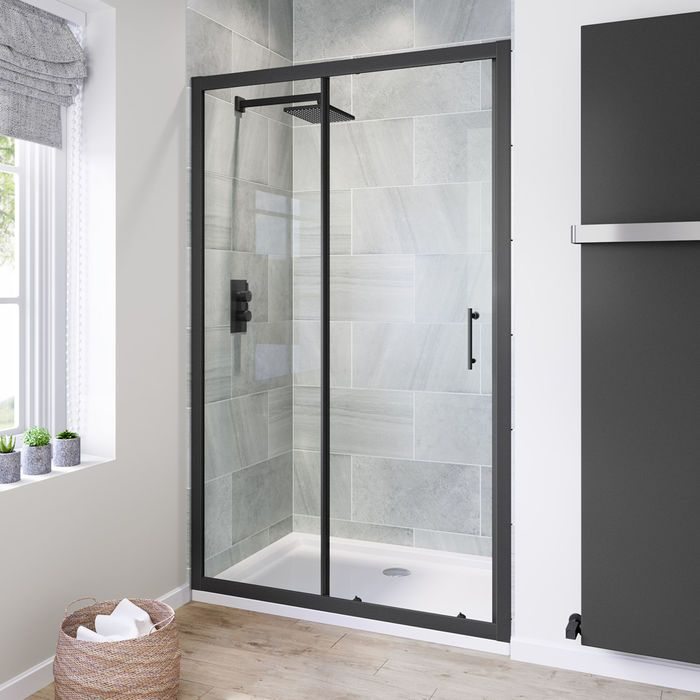 1200mm 6mm Black Frame Sliding Shower Door Frameless Shower Doors Shower Doors Framed Shower Enclosures