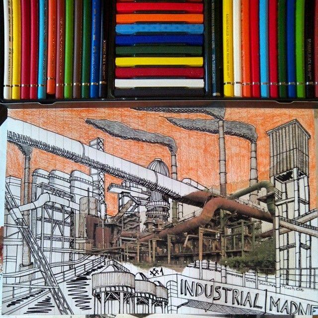 Industrial Madness #1 proceso de realización , casi acabado #drawing #industrialheritage #sketch #industrialmadness #pencildrawing #dibujo #industriekultur #industry #patrimonioindustrial