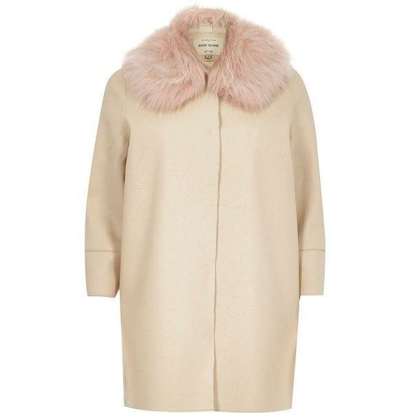 River Island Cream faux fur trim leather-look cocoon coat ($110) ❤ liked on Polyvore
