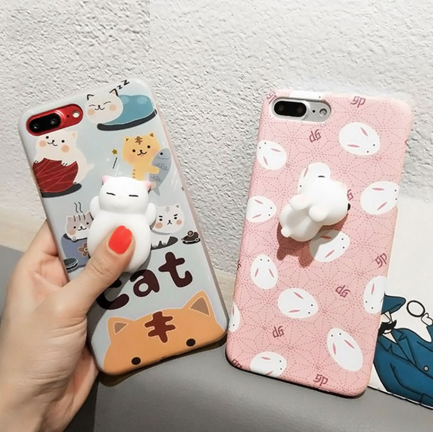 2a30841d37 Squishy 3D Soft Silicone Cat Panda Phone Case Cover For Iphone X 8 7 6 Plus  5S