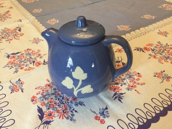 4 Cup Teapot Harker Stoneware Cadet Blue Short Spout Vintage