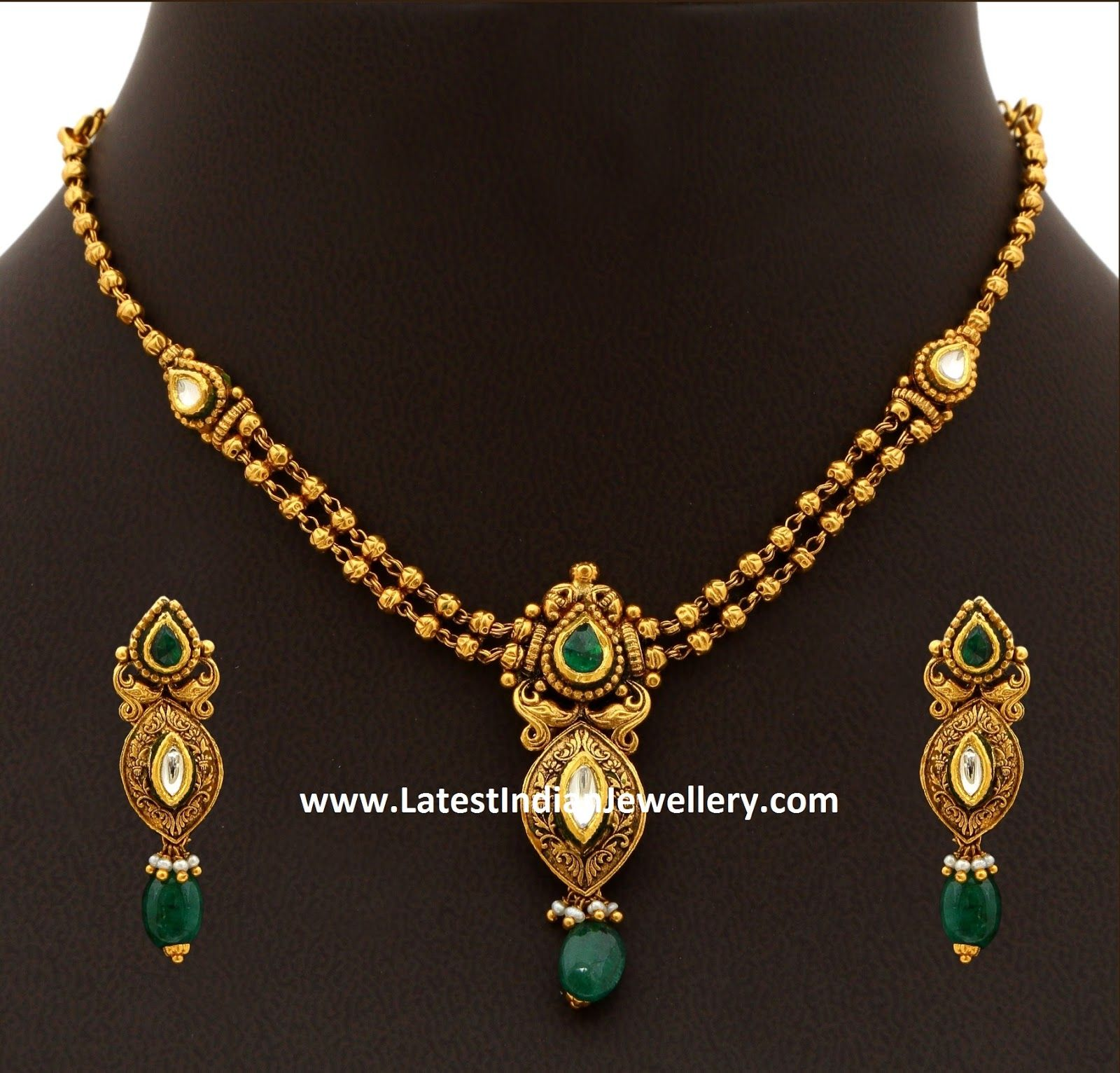20gms Antique Gold Necklace | Antique gold, Gold necklaces and Gold