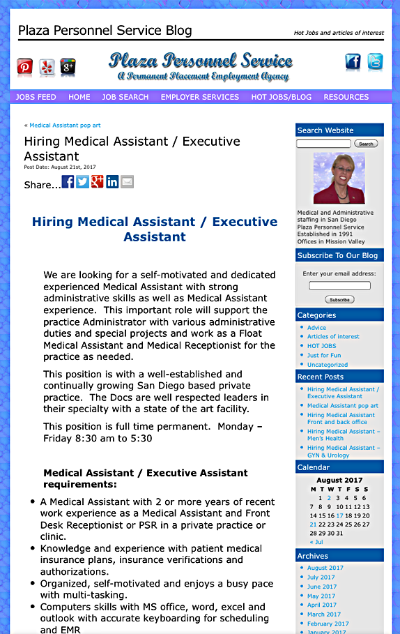 Hiring Medical Assistant Front and back office | Medical
