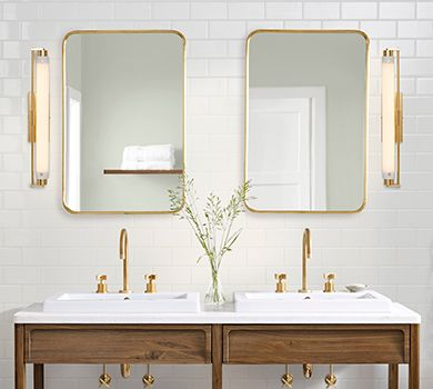40 Rounded Rectangle Yaquina Mirror Rejuvenation Sconces