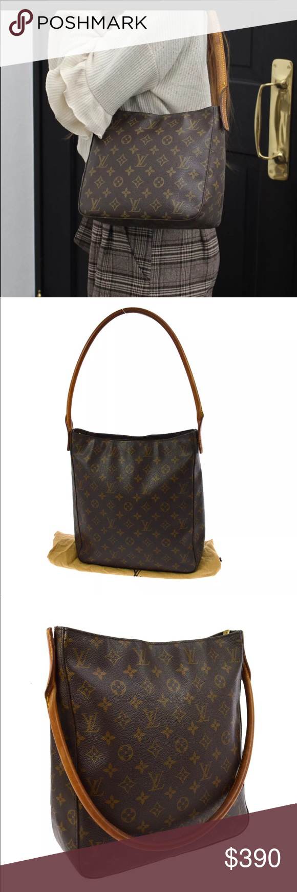 b1333eb55045d Authentic Louis Vuitton Looping GM Monogram This Louis Vuitton Monogram  Canvas Looping GM Bag has a